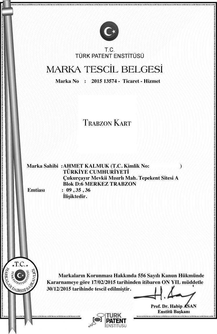 Trabzon Kart Tescil Belgesi
